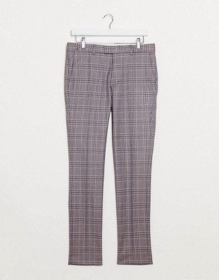 Topman skinny fit checked suit pants in pink