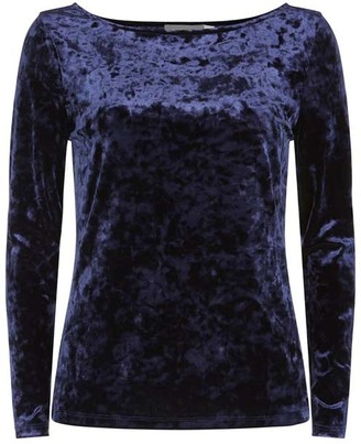 Mint Velvet Navy Crushed Velvet Top
