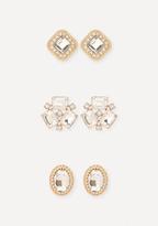 Bebe Crystal Cluster Earring Set