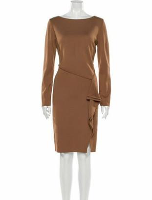 St. John Bateau Neckline Knee-Length Dress Brown