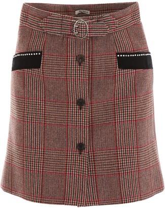 Miu Miu Checked Buttoned Skirt