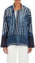 Giada Forte Women's Fringe Geometric-Pattern Cotton Jacket-BLUE
