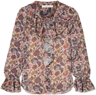 See by Chloe Shirred Ruffled Floral-print Georgette Blouse