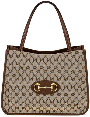 Gucci 1955 Horsebit Tote in Beige Ebony & Brown Sugar | FWRD