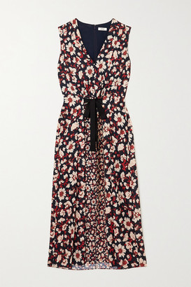 Jason Wu Tie-detailed Pleated Floral-print Crepe De Chine Midi Dress - Navy