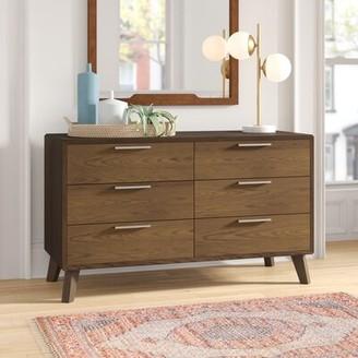 Ronan 6 Drawer Double Dresser Foundstone Color: Walnut Veneer