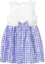 Gymboree White & Seaside Blue Gingham Sleeveless Dress - Infant & Toddler