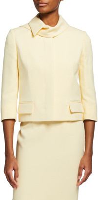 Alexander McQueen 3/4-Sleeve Boxy Cropped Jacket with Scarf Collar