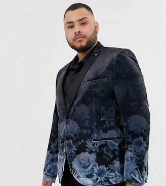 Twisted Tailor plus super skinny blazer with faded floral print-Navy