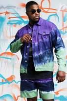 BoohooMAN Big & Tall Quavo Tie Dye Denim Jacket
