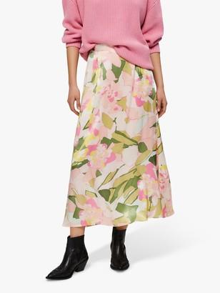 Selected Mola Floral Print Ankle Skirt, Rosebloom