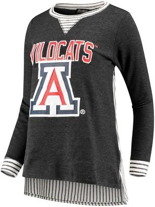 Women's Heathered Charcoal Arizona Wildcats Striped Panel Oversized Long Sleeve Tri-Blend Tunic Shirt