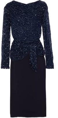 Rachel Gilbert Jamilla Layered Embellished Tulle And Crepe Midi Dress