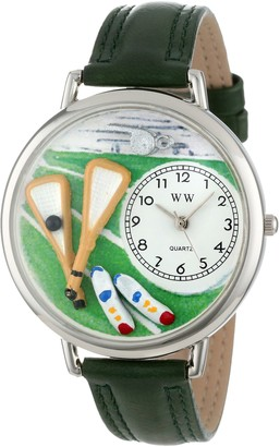 Whimsical Watches Lacrosse Black Padded Leather and Silvertone Unisex Quartz Watch with White Dial Analogue Display and Multicolour Leather Strap U-0820014