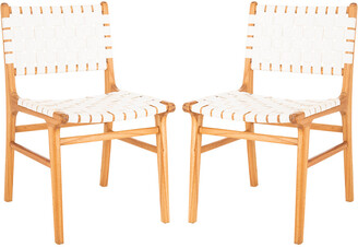 Safavieh Furniture Set Of 2 Taika Woven Leather Dining Chairs