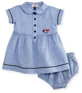 Armani Junior Short-Sleeve Smocked Linen Dress w/ Bloomers, Blue, Size 6-24 Months