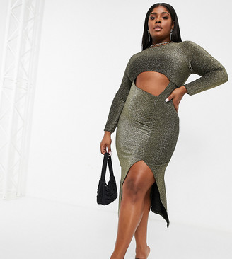 Fashionkilla Plus glitter cut out long sleeve midi dress in gold