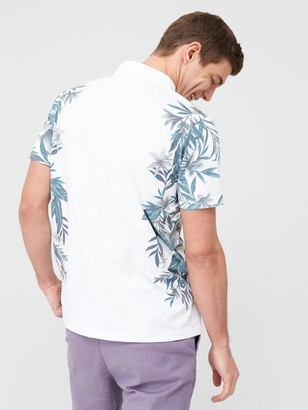 Very Floral Side Printed Polo Shirt - White