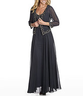J Kara Plus Beaded Chiffon Jacket Dress