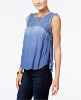 American Rag Embroidered Dip-Dyed Tassel Top, Only at Macy's