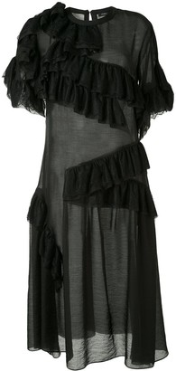 GOEN.J Lace Trim Midi Dress