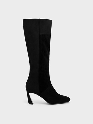 Charles & Keith Corduroy Sculptural Heel Knee High Boots