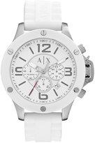 Armani Exchange A|X Men's Chronograph White Silicone Strap Watch 48mm AX1525