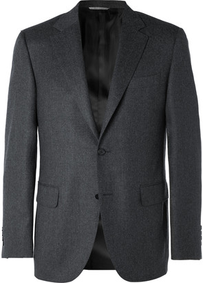 Canali Grey Wool-Flannel Suit Jacket