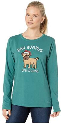 Life is Good Long Sleeve Crusher Bah Humpug T-Shirt (Spruce Green) Women's Clothing