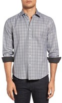Bugatchi Shaped Fit Houndstooth Plaid Sport Shirt