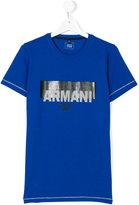 Armani Junior printed logo T-shirt - kids - Cotton - 14 yrs