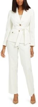 Le Suit Petite Belted Jacket Pantsuit