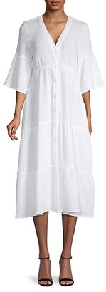 Saks Fifth Avenue Textured Gauze Puckered Button-Front Dress