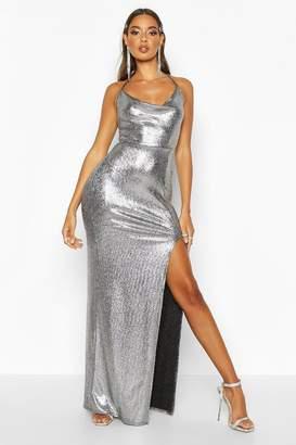 boohoo Cowl Front Split Maxi Dress