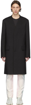 Maison Margiela Black Twill Mid-Length Coat