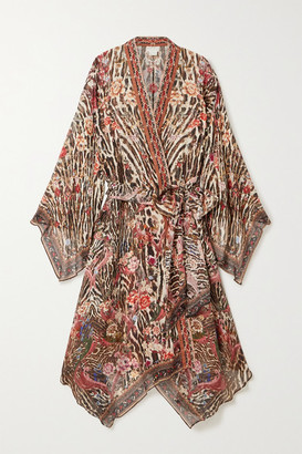 Camilla Belted Crystal-embellished Printed Silk-chiffon Kimono - Leopard print