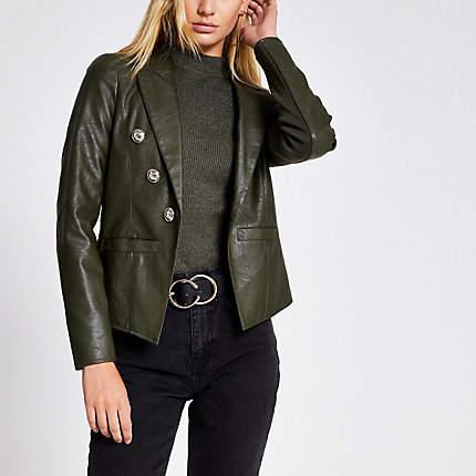 River Island Khaki faux leather button front blazer