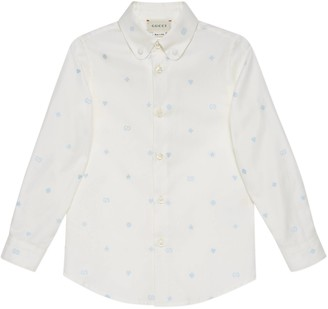 Gucci Children's symbols embroidered Oxford cotton shirt