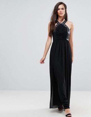 BCBGMAXAZRIA Faux Leather Eyelet Cross Strap Maxi Dress-Black