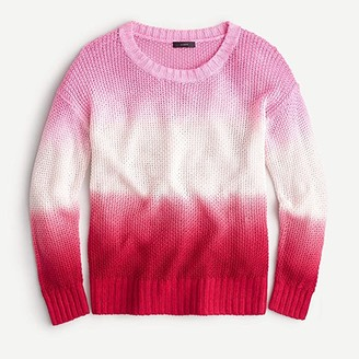 J.Crew Dip-Dye Crew Neck Beach Sweater (Larkspur Pink/Authentic Red) Women's Clothing