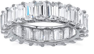 FINE JEWELRY Diamonart Womens 5.5MM White Cubic Zirconia Platinum Over Silver Rectangular Band