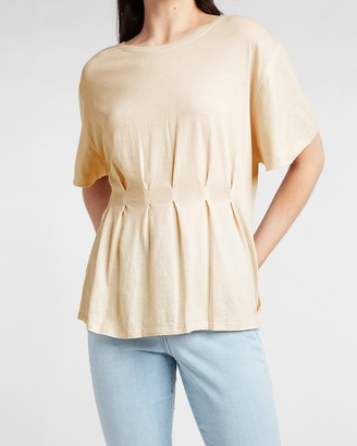 Express Short Sleeve Pleated Front Tee