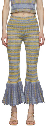 Eckhaus Latta Yellow and Blue Purl Flare Lounge Pants