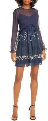 Ted Baker Pearl Floral Long Sleeve Minidress