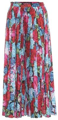 Versace Floral pleated midi skirt