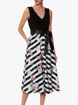 Gina Bacconi Carlina Satin Dress, Black/White