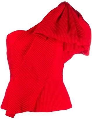 Roland Mouret Asymmetric Ruffle Sleeve Top