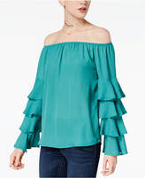 Say What Juniors' Tiered-Sleeve Off-The-Shoulder Top