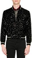 Saint Laurent Men's Teddy Embroidered Velvet Bomber Jacket