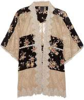 Anna Sui Lace-Paneled Printed Silk Crepe De Chine Jacket